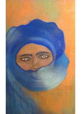 Touareg dans les vents sableux du Sahara