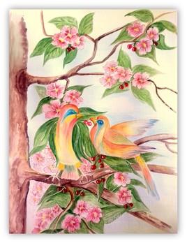 77....AMOUR ET TENDRESSE  D OISEAUX ..(Aquarelle  et crayons aquarelle)