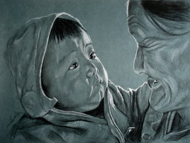 Regards bébé avec sa grand mère, Vietnam