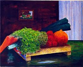"""Vide Atelier - Peinture légumes - """"Le poireau coupé"""" -"""