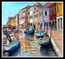 Venise et ses canaux (toile en cours de finitions)