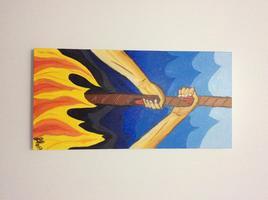 Œuvre artistique, Peinture huile 15 x 30 - Je m'accroche à la vie !