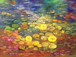L'étang aux nénuphars - huile sur toile 61x46 cm