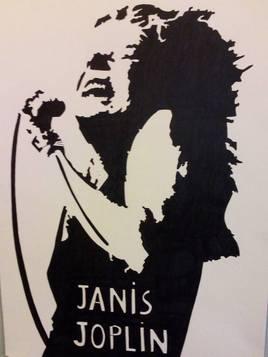 Janis Joplin en portrait noir et blanc