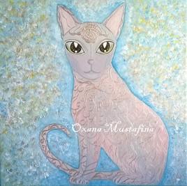 Peinture acrylique Chat Sphynx argenté «Cléopâtre»