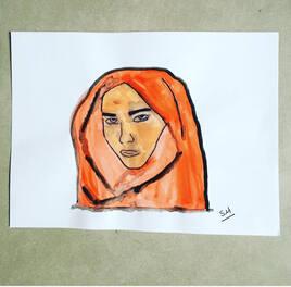 Mujer con pañuelo roja