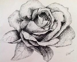 Rose à l'encre