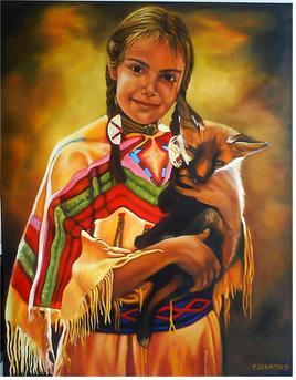 La petite indienne et le jeune renard