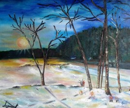 paysage d'hiver soleil couchant