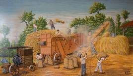 Le dépiquage du blé- La batteuse aux vielles