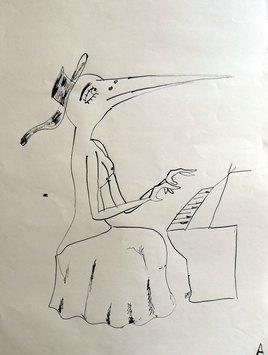 Oiselle jouant au piano
