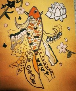Poisson art nouveau japonisant
