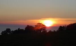 coucher de soleil sur la Baie du Mont St Michel..