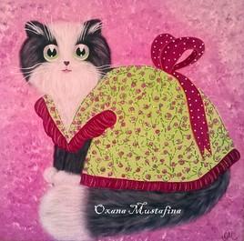 """Peinture acrylique Chat romantique """"Mademoiselle Lili Rose"""""""