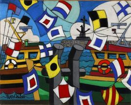 Peinture La fête au port d'Arcachon par YVES DUBOS