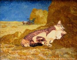 la sieste de Van Gogh revisitée par Mioumiou et Grisou :)