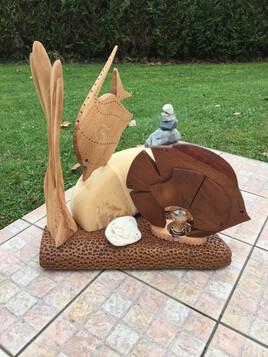 Sculpture lampe poisson exotique