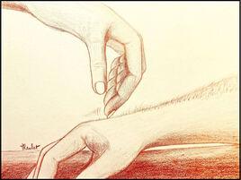 Main de femme à fleur de peau / Drawing A woman's hand on the skin