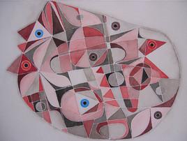 Art abstrait : la chambre.