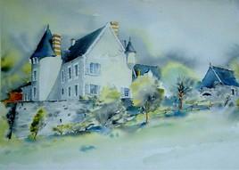 tableau de votre village ou de votre maison a l aquarelle