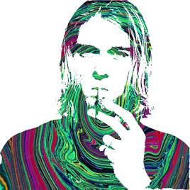 Portrait Kurt Cobain en Spiarles Colorées