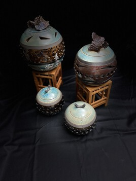 nouvelle collection de photophores raku 1050° turquoise