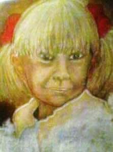 la petite fille au chouchou rouge