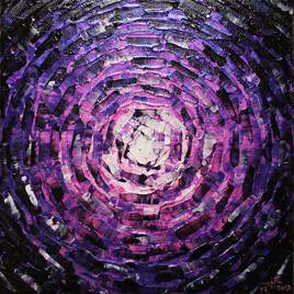 Peinture moderne : Petit éclat de lueur rose violette iridescente.