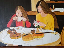 Pause café Peinture à l'huile sur toile de 70 X 50 par Lucien Prost