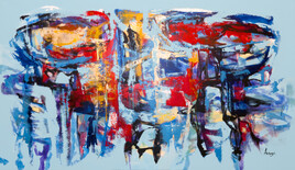 Peinture abstraite Extra Large Horizontal Modern Abstract Oversize Canvas Painting.