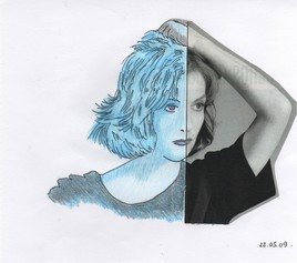 Femme au visage bleu