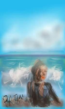 Peinture jeune fille à la plage