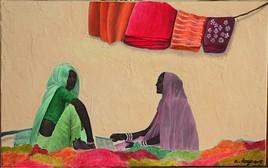 Vente de foulards au Rajasthan