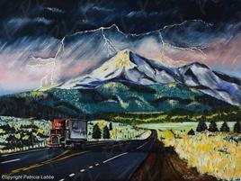 Lightning on the Mount Shasta in California