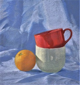 "NATURE MORTE ""ORANGE ET BOLS."""