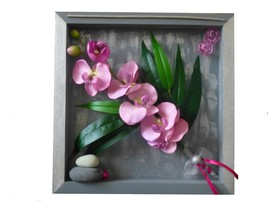 TABLEAU FLORAL ORCHIDEE ROSE