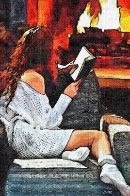 Lectrice près du feu