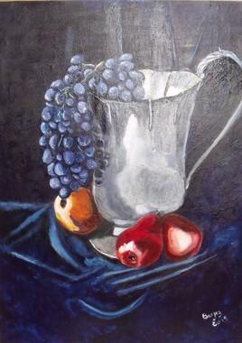 Silver Jug and fruits