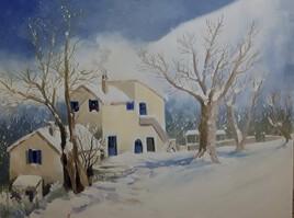 Maison bleue l'hiver