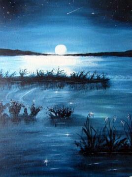 Clair de lune sur le lac