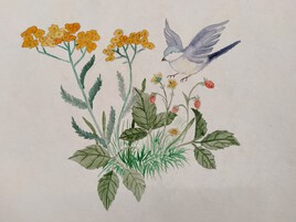 Oiseau sur fleurs