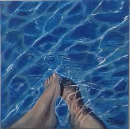 les pieds dans l'eau 50 cm x 50 cm PEINTURE