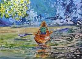 en barque à la montagne