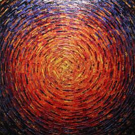 Peinture au couteau : Éclat de couleur flamboyant.