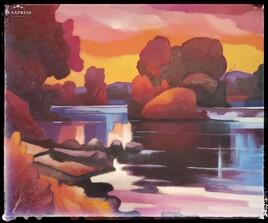 paysage au bord du Doubs de Pierre Donzelot 1981