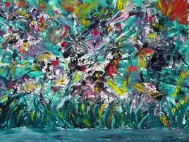 ELIE BERNARD ACRYLIQUE ORIGINALE ART ABSTRAIT SUR TOILE 44X65