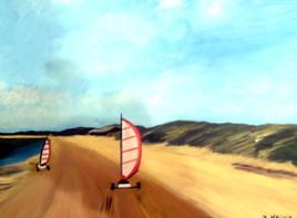 Char à voile sur la plage du Crotoy