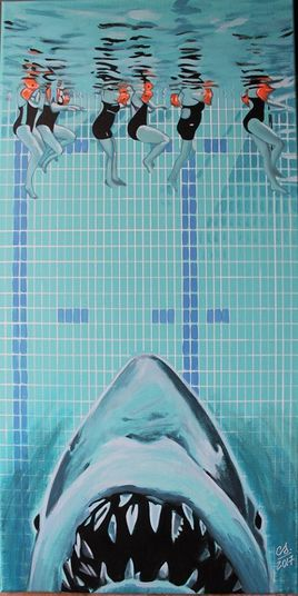 """La piscine"" (acrylique) 40x80 cm"