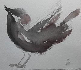 Sumi-e et pinceau chinois - L'oiseau