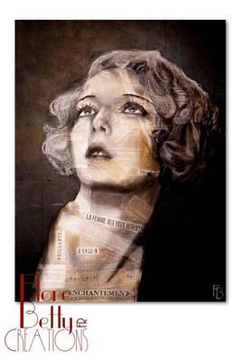 Portrait de Mary Nolan sur coupures papier de revues musicales et journaux des années 1920